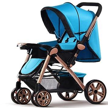 ZhiGe Silla de Paseo Bidireccional Cuatro Ruedas Plegable bebé Sentado Carretilla Ligero Cochecito bebé de Aluminio del Coche: Amazon.es: Hogar