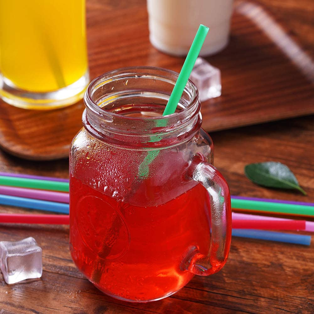 200 Pcs Colorful Plastic Long Disposable Drinking Straws. 0.23diameter and 10.2long