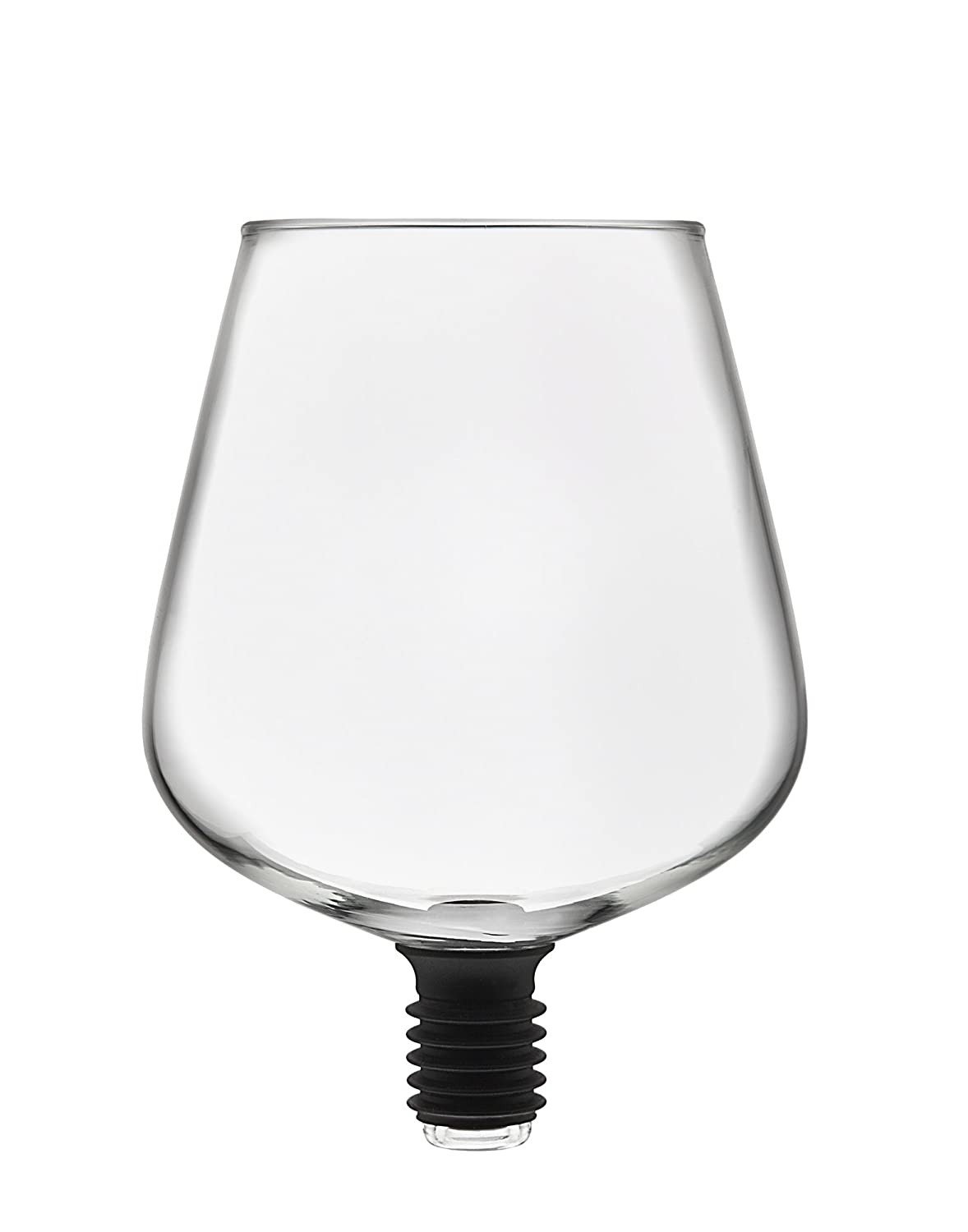 Godinger 22103 ChugMate, Goblet to Drink Straight Wine Glass Bottle Topper, 8 oz, Clear