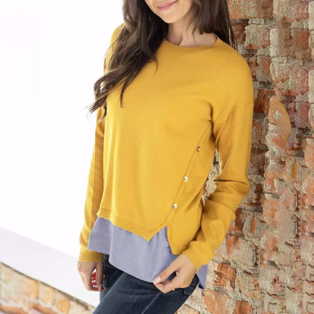 Yvelands Mujer Casual Patchwork Stripe Button O Cuello Blusa de Manga Larga Tops Camiseta: Amazon.es: Ropa y accesorios