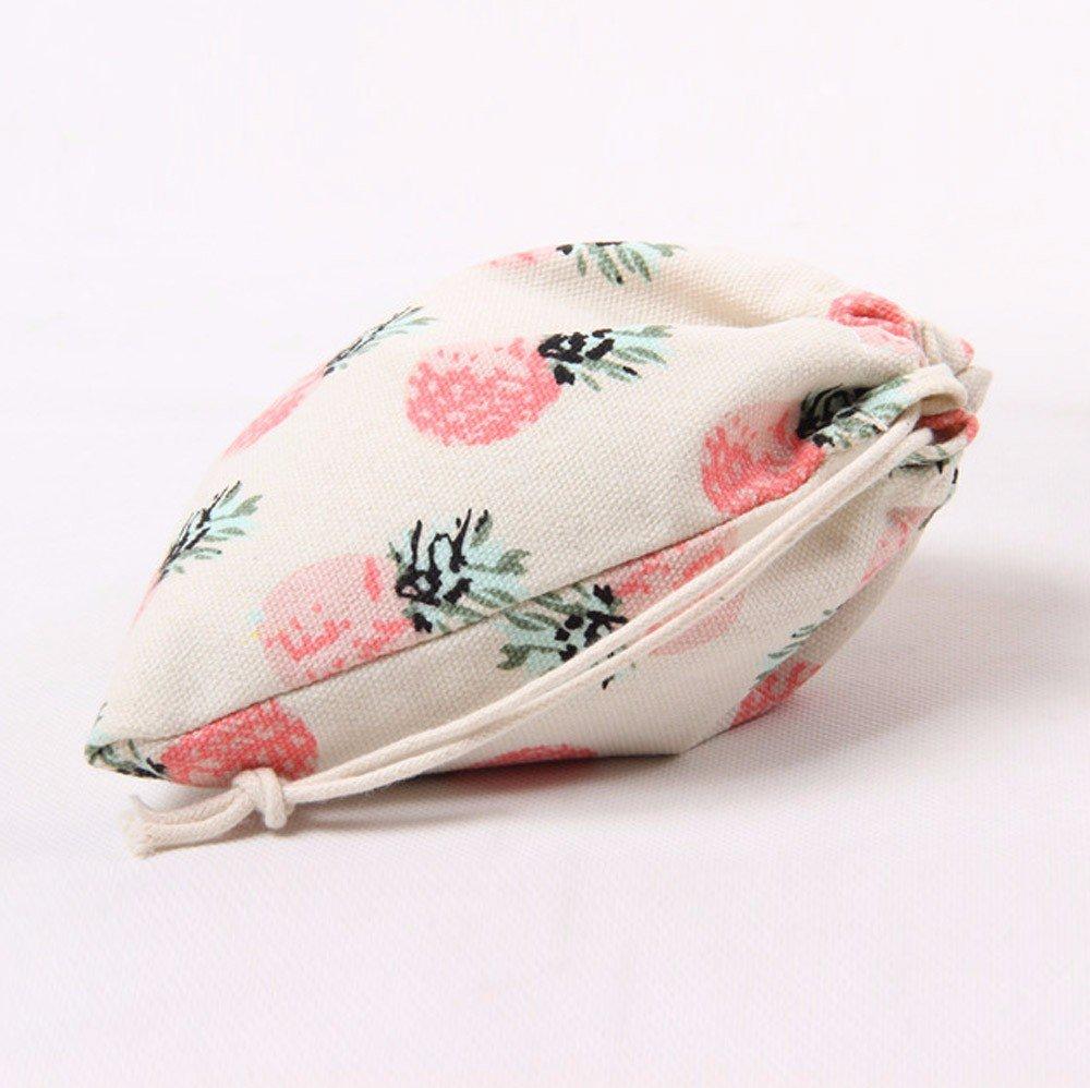 JESPER Pineapple Printing Drawstring Beam Port Storage Bag Travel Bag Gift Bag Pink L
