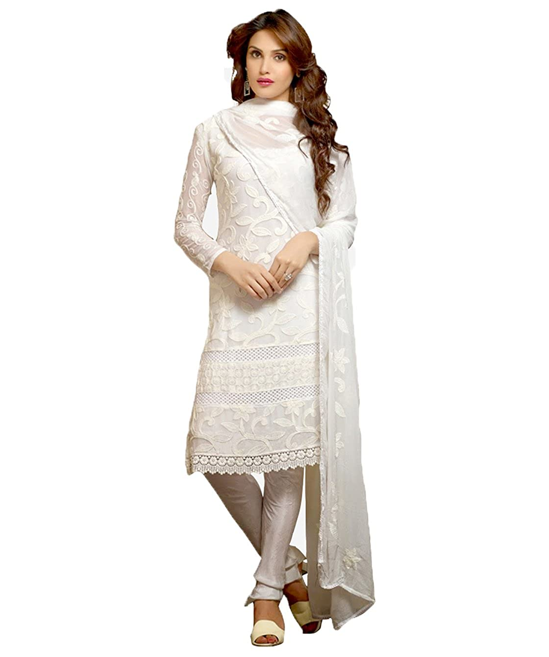 Buy Utsav Designer Women S Karachi Work Semi Stitched Salwar Suit Dress Material Dnr 1008 White At Amazon In