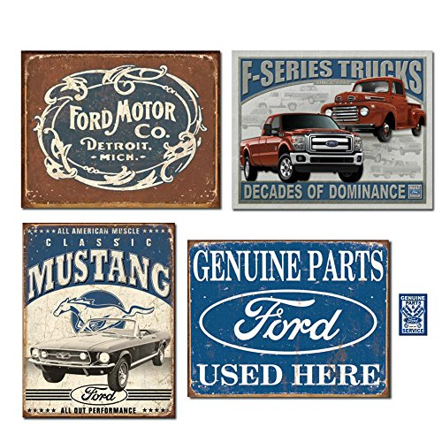 Vintage Ford Tin Sign Bundle - Ford Motor Co. Historic Logo, Classic Mustang, F-Series Trucks, Ford Parts Used Here. Plus Genuine Parts Magnet.