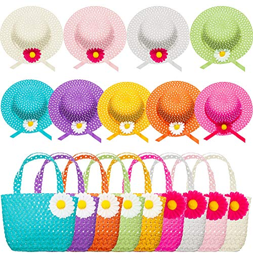 Zhanmai 9 Sets Girls Tea Party Hats Purse Daisy Flower Sun Straw Hat and Purse Sets Includes 9 Purses 9 Daisy Flower Sunhats 9 Colors -
