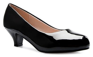 1a9843f710 OLIVIA K Women's Classic Closed Toe Kitten Heel Pumps | Dress, Work, Party  Low Heeled