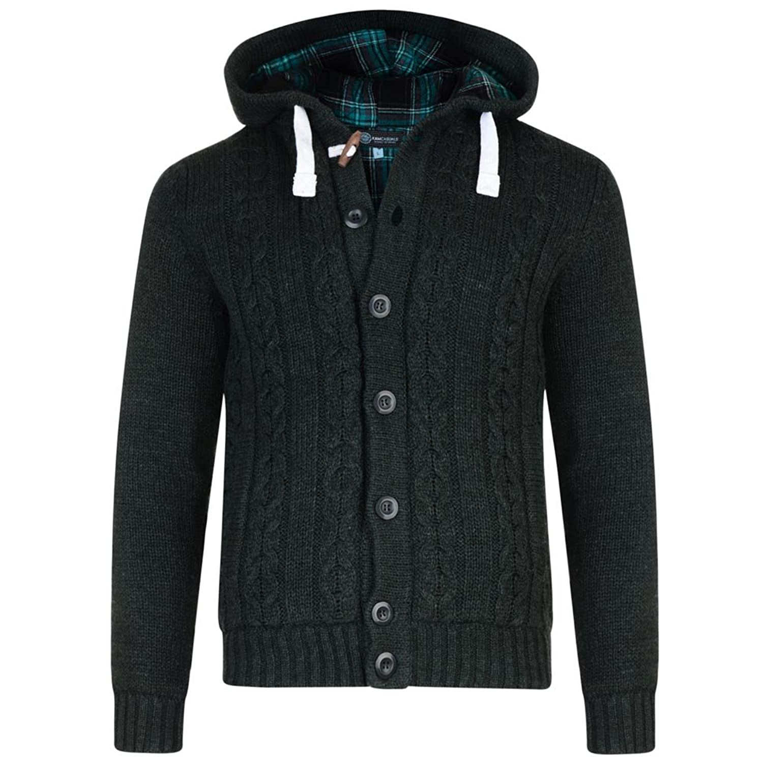 Kam Knitted Button Cardigan With Hood ? Green