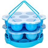 PRAMOO Silicone Egg Bites Mold and Silicone Egg Steamer Rack Trivet with Sling, Compatible with Instant Pot, 3 pcs/set…