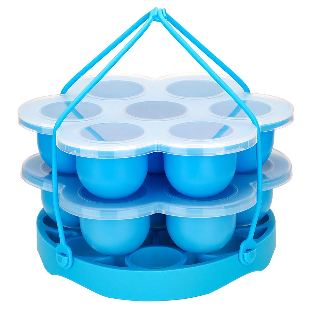 PRAMOO Silicone Egg Bites Molds and Egg Steamer Rack Trivet with Sling, Compatible with Instant Pot, 3 pcs/set for 5, 6 & 8 Qt Pressure Cooker Accessories