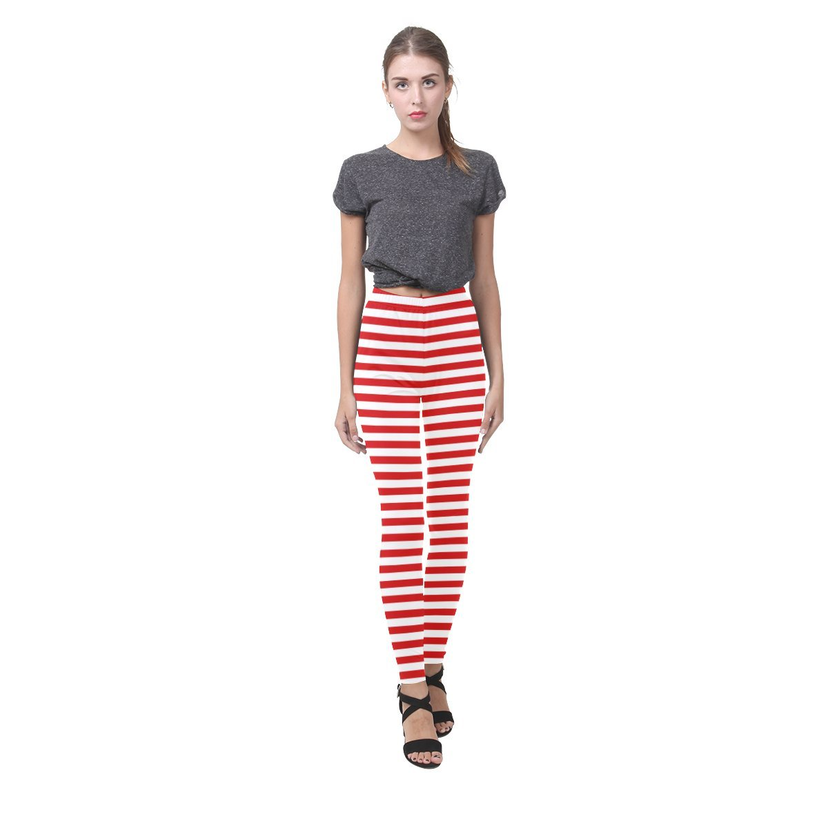 Honey Day House Red White Stripes Fashion All Over Printing Leggings Women