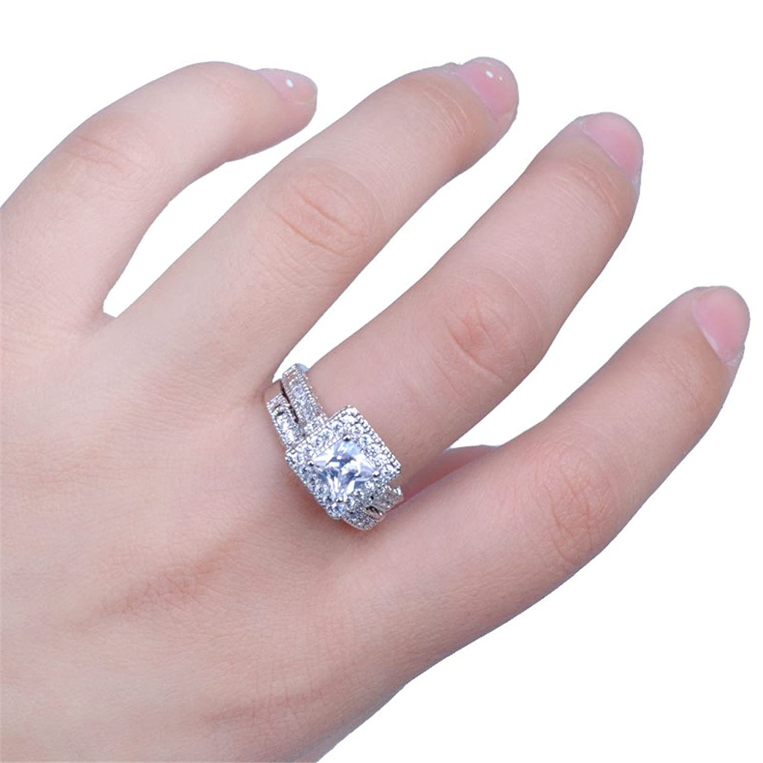 Amazon.com: Junxin Jewelry 6*6MM White Gold Cushion Cut Diamond ...