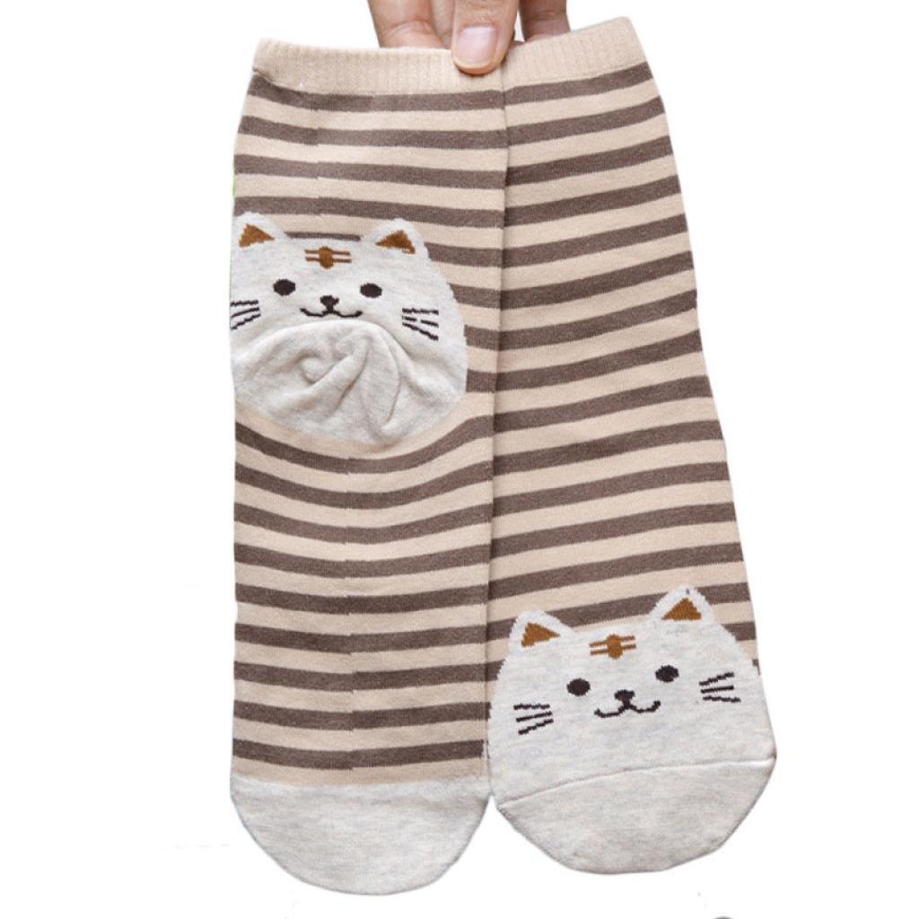 Socks,toraway 3d Animals Cartoon Striped Socks Cat Footprints Cotton Socks (Brown)
