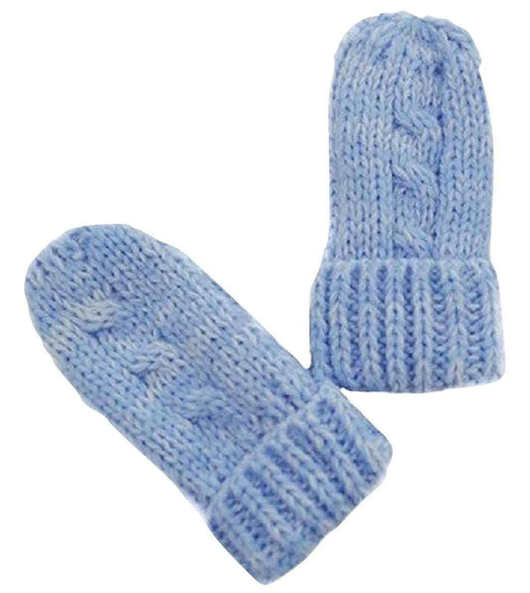 QBE Baby Boy Girl Knitted Mittens Gloves Mitts Size 0-6 months (Blue Cable Knit)