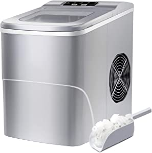 Portable Ice Maker Machine for Countertop, Bullet-Shaped Ice Cubes Ready in 8 minutes, 26 Pounds in 24 Hours, With Ice Scoop and Basket