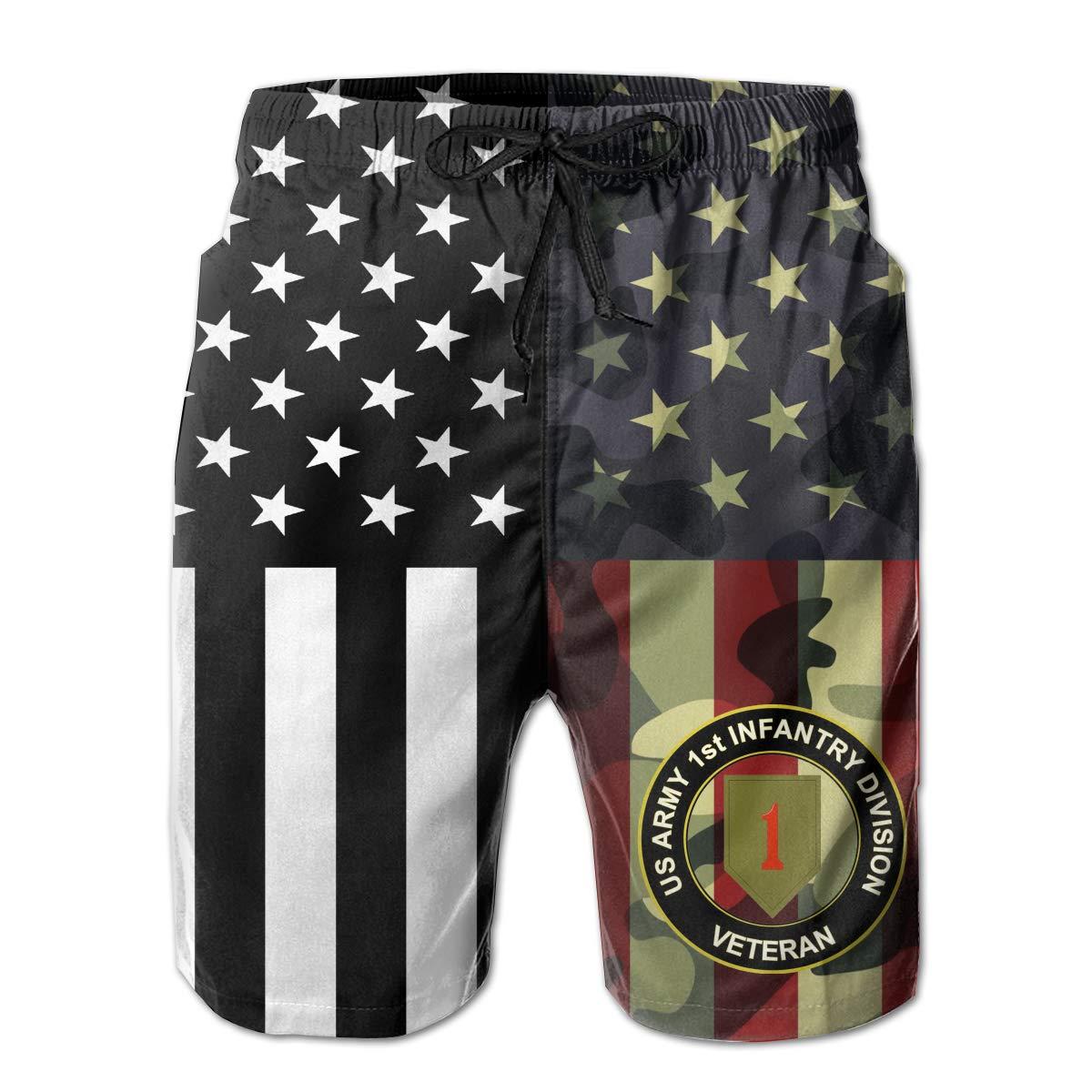 Army 1st Infantry Division Subdued Veteran Boardshorts Mens Swimtrunks Fashion Beach Shorts Casual Shorts Swim Trunks