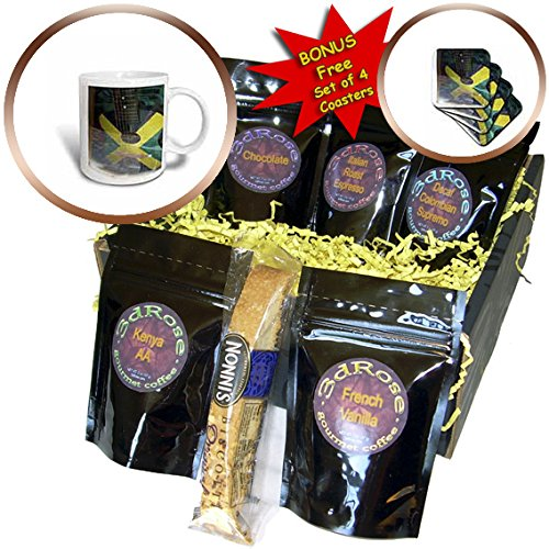 3dRose Florene Cruise Ships Sites - Image Of Jamaican Guitar Painted In Flag Colors - Coffee Gift Baskets - Coffee Gift Basket (cgb_253699_1)