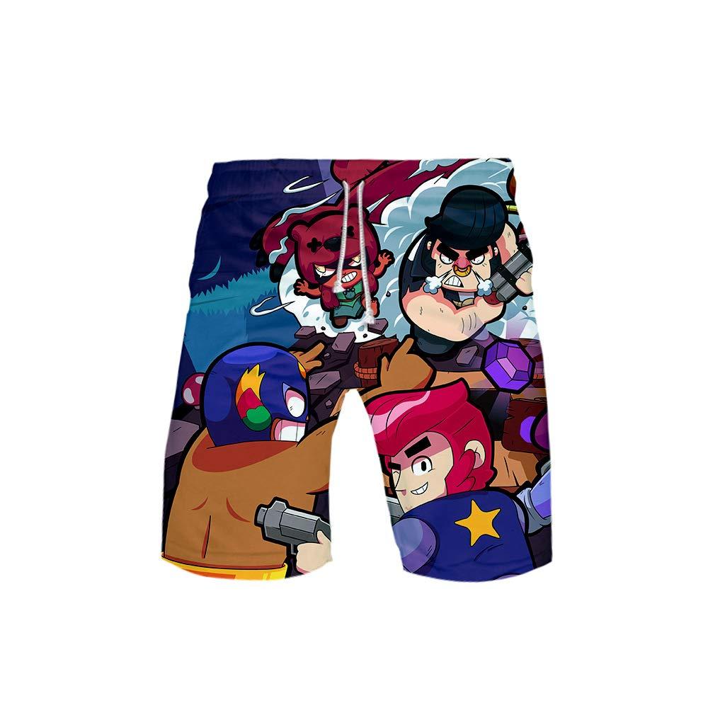 MR.YATCLS Brawl Stars Pantaloncini con Stampa 3D A Tema Gioco Pantaloncini Casual Estivi Pantaloncini da Spiaggia per Adolescenti