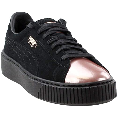 f064da389be853 Puma Women s Basket Platform Metallic Fashion Sneaker (Black Suede Metallic  Rose Gold