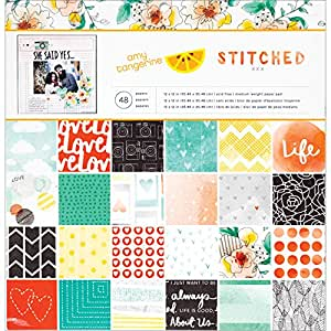 American Crafts 368964 Home Amy Tangerine Stitched Patterned Paper Pad, 12 by 12-Inch, Multicolored