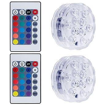 Lictin 2 Unterwasser Licht mit Fernbedienung und 6 Batterien RGB ...