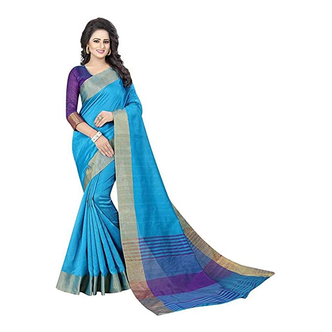 1d87b9d053 Amazon.com: Woven Kanjivaram Cotton Saree (Light Blue): Clothing