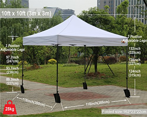 ABCCANOPY 10×10 Easy Pop up Commmercial Canopy Tent with Matching White Mesh Walls Bonus Rolly Carry Bag and 4X Weight Bag (White)