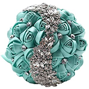 Snowskite crystal style wedding bouquets satin rose flower brooch pearl hold bouquet for birdal 117