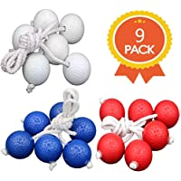 Qtimal Ladder Toss Game Replacement Ladder Balls, 3 Colors Tournament Quality Bolos Bolas with Real Golf Balls (9 Pack)