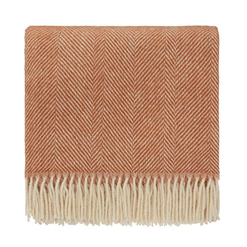 URBANARA Salantai Throw Blanket with Fringe - 100% Pure Scandinavian Wool - Striped with Decorative Herringbone Design - Ideal for Your Couch, Sofa, Bedroom, Twin Size Bed (55 x 87, Terracotta/Cream)