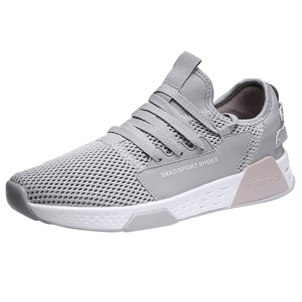 ZOMUSAR Boy Men's Fashion Lace-Up Sports Shoes Non-Slip Lightweight Running Shoes Gray by ZOMUSAR