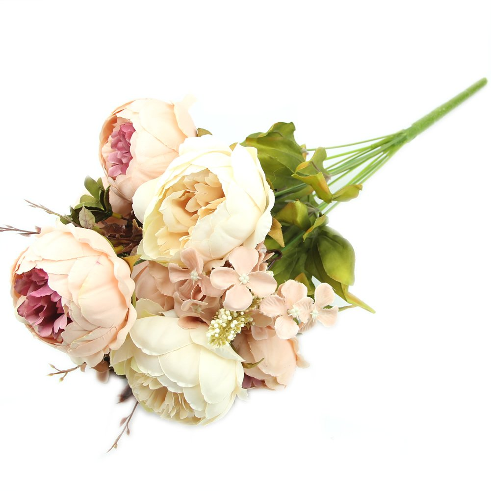 Amazon.com: Kangnice Vintage Artificial Peony Silk Flowers Bouquet Wedding  Room Floral Decor DIY, Beige And Pink: Home U0026 Kitchen