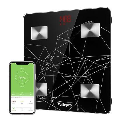 Vellepro - Báscula digital para análisis de grasa corporal con Bluetooth, Usuario ilimitado, mide