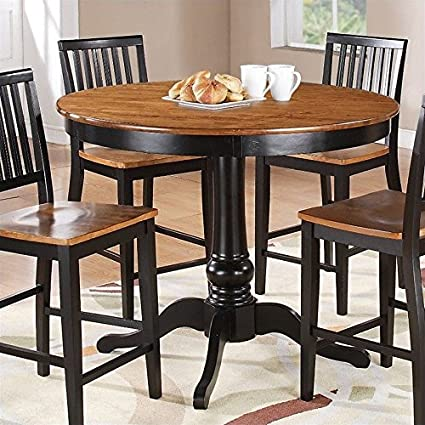 Exceptionnel Steve Silver Company Candice Round Counter Height Dining Table In Oak And  Black