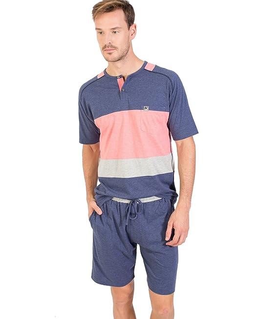 Pijama Hombre Verano Rosa Y Azul (P181327) (M)