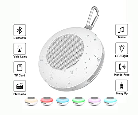 MINSINHO LED Portable Waterproof Outdoor Bluetooth Speaker,Night Light Changing Wireless Speaker,LED Portable Wireless Bluetooth Speaker 6 Color LED Themes