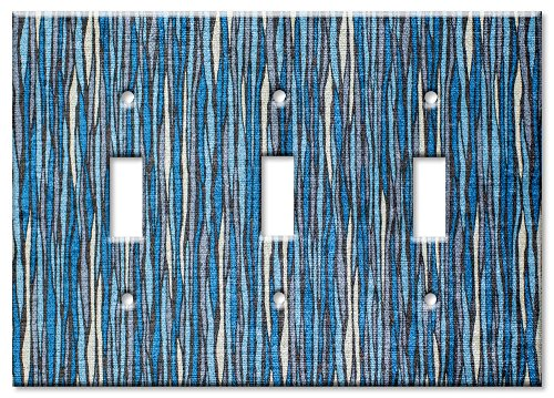 Art Plates - Triple Gang Toggle Oversize Switch/Over Size Wall Plate - Blue -