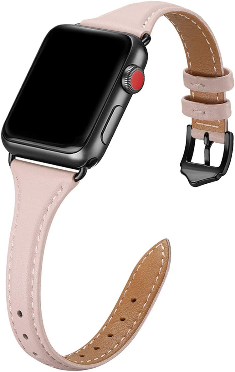 WFEAGL Leather Bands Compatible with Apple Watch 38mm 40mm 42mm 44mm, Top Grain Leather Band Slim & Thin Replacement Wristband for iWatch SE & Series 6/5/4/3/2/1 (PinkSand/Black, 38mm 40mm )