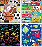 "Premium Birthday or All Occasion Gift Wrap Heavy Weight Gloss Finish Wrapping Paper for Girls, Boys, Kids, Sports 4 Different Designs of 5ft X 30"" Rolls / Per Pack Set Included!"