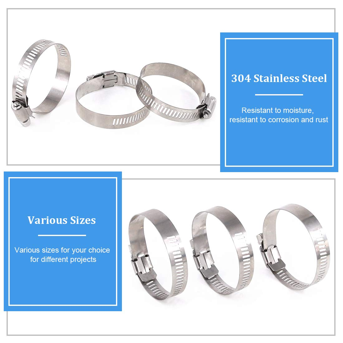 14-27MM Glarks 20Pcs 304 Stainless Steel Adjustable 14-27MM Range Worm Gear Hose Clamps Assortment Kit Automotive and Mechanical Application Plumbing Fuel Line Clamp for Water Pipe