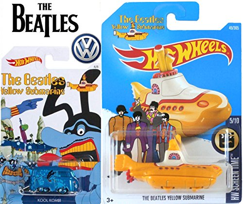 Hot Wheels Volkswagen Exclusive Model Kool Kombi Blue Meanie + 2017 HW Screen Time The Beatles Yellow Submarine #49 in Protective Cases ()