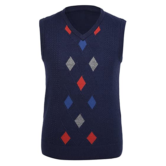 Zicac Men's V-neck Casual Slim Fit Sweater Vest Argyle Pullover ...