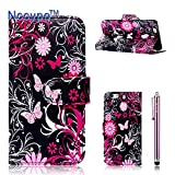 iphone 6 Plus Case, Nccypo Fashion Korean Style PU Leather Magnet Wallet Slim Protective Shell Stand Case Cover For Apple iphone 6 Plus(5.5 inch)[Beautiful Pink Butterflies Flowers] with Credit Cards Slots and Stylus