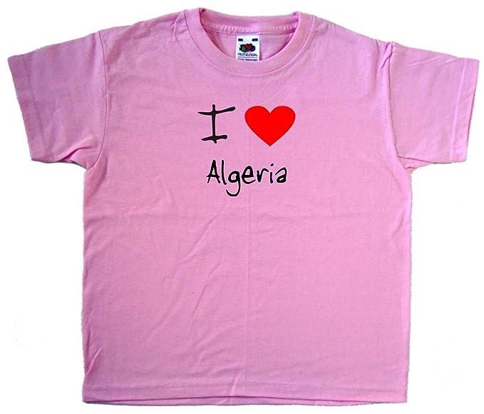 Amazoncom I Love Heart Algeria Pink Kids T Shirt Clothing