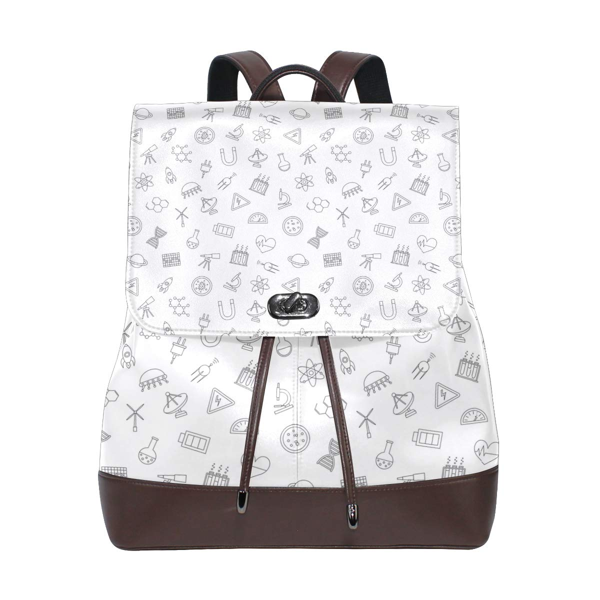 Leather Science Pattern Icons Black Backpack Daypack Bag Women