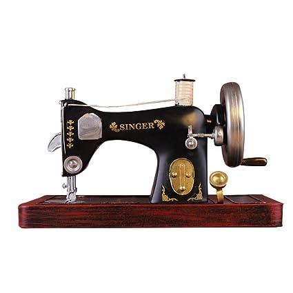 Luban Adornos Máquina de Coser Vintage Modelo Decoración para el hogar Accesorios de fotografía Escaparate Pantalla