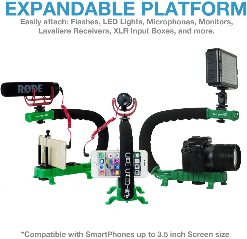 GoPro Adapters and 1//4-20 Threaded Mo Cam Caddie Scorpion Jr Stabilizing Camera Handle for DSLR and GoPro Action Cameras Professional Handheld U//C-Shaped Grip with Integrated Accessory Shoe Mount for Microphone or LED Video Light Includes Smartphone