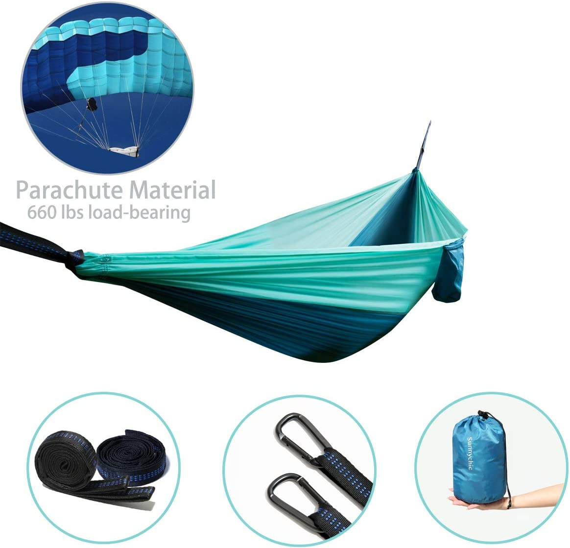 Sunnychic Outfitters Hammock Camping, Ultra-Light Breathable Single Double with 2 Tree Straps,Capacity 660LBS for Outdoor Backpacking Survival Travel Beach Portable