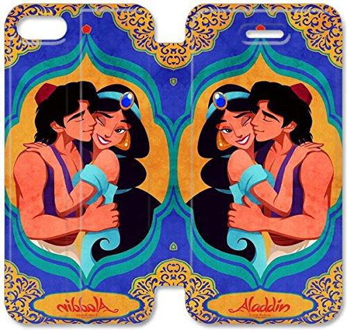 Flip étui en cuir PU Stand pour Coque iPhone 5 5S, bricolage 5 5S cas de téléphone portable Disney Aladdin et Jasmine P7V8FR Effacer Coque iPhone étuis en cuir personnalisés