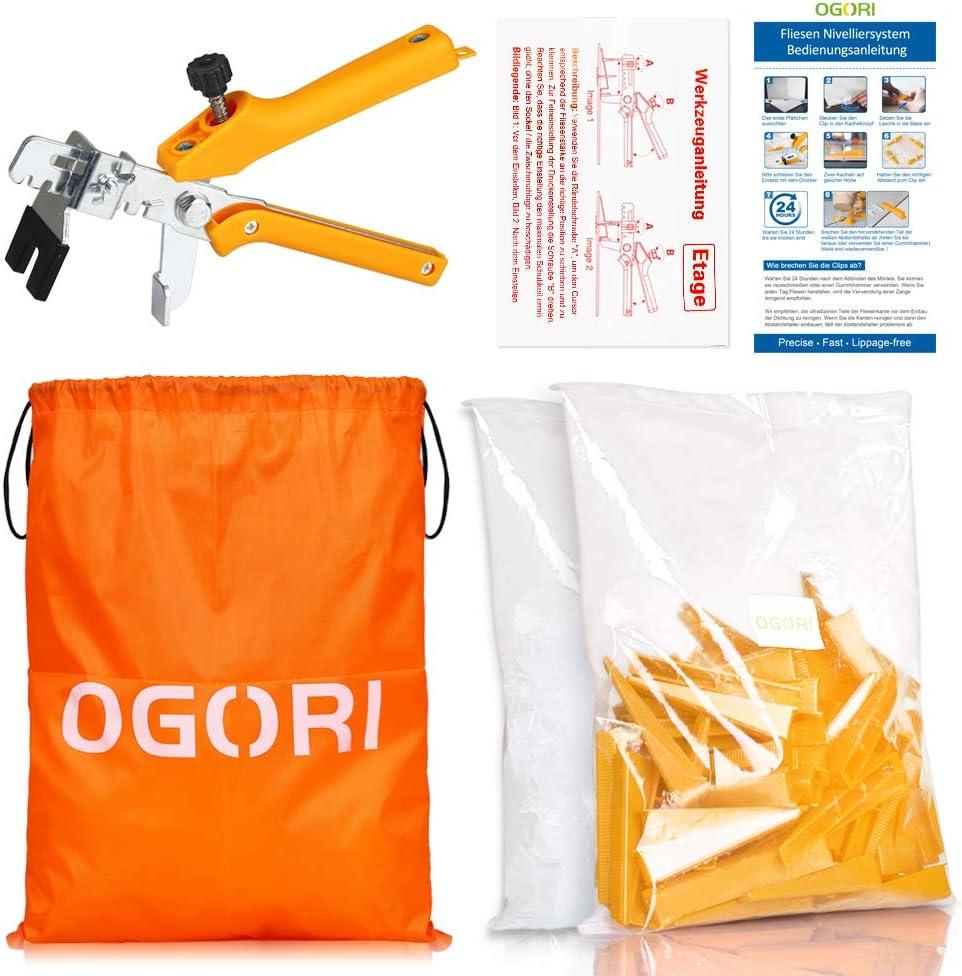 Pour carrelage 100 cales et pinces Hauteur : 4-16 mm Syst/ème de nivellement OGORI pour carrelage de 2 mm de large 300 languettes Pour carrelage
