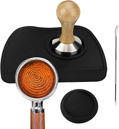 Tamper del caff/è in acciaio inossidabile e legno 51mm e tappetini da caff/è in silicone per caff/è espresso con penna Art Decorating Coffee Art Pen
