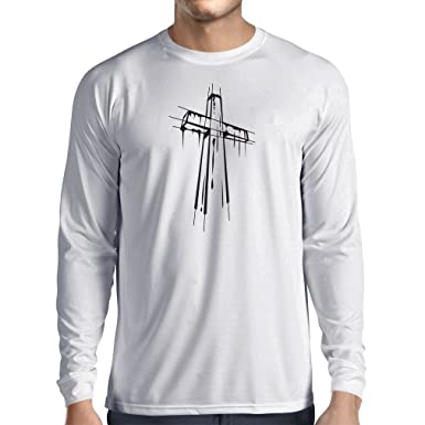 e02c074cd Amazon.com: lepni.me Long Sleeve t Shirt Men Distressed Holy Cross -  Religious Gift Ideas. Christian Religion Apparel, Jesus Resurrection:  Clothing